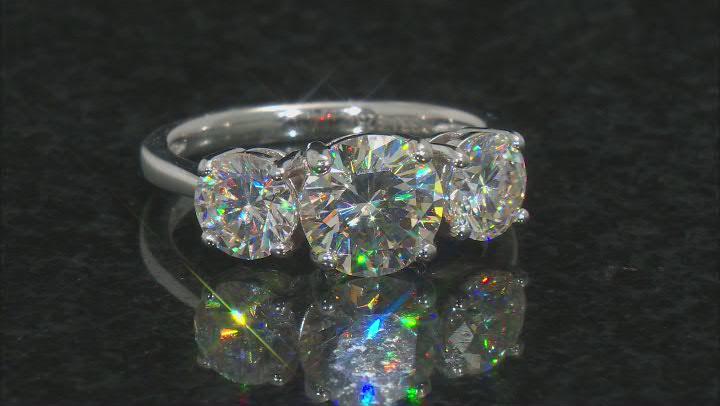 White Fabulite Strontium Titanate Rhodium Over Silver 3-Stone Ring 4.40ctw
