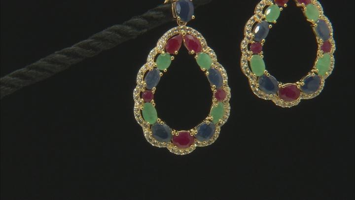 Multi-gem 18k gold over silver earrings 7.27ctw