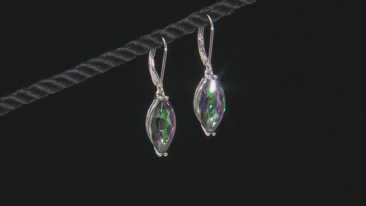 Multi-Color Quartz Rhodium Over Sterling Silver Earrings 6.46ctw