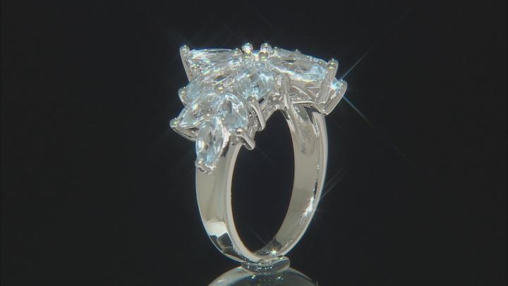 Blue aquamarine rhodium over silver ring 3.60ctw