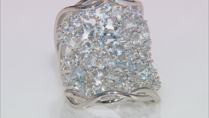 Blue Aquamarine Rhodium Over Sterling Silver Ring 4.46ctw
