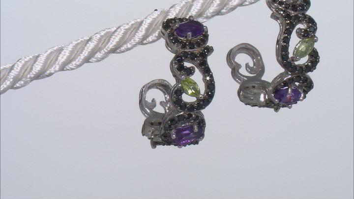 Purple amethyst rhodium over silver earrings 3.16ctw