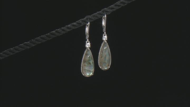 Gray Labradorite Rhodium And Zircon Rhodium Over Sterling Silver Dangle Earrings 20x8mm