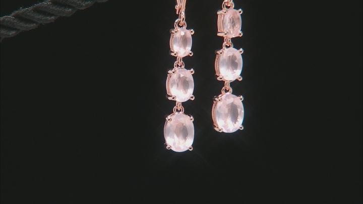 Pink Rose Quartz 18k Rose Gold Over Silver Earrings