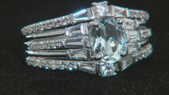 Blue Aquamarie Rhodium Over Silver Ring 2.30ctw