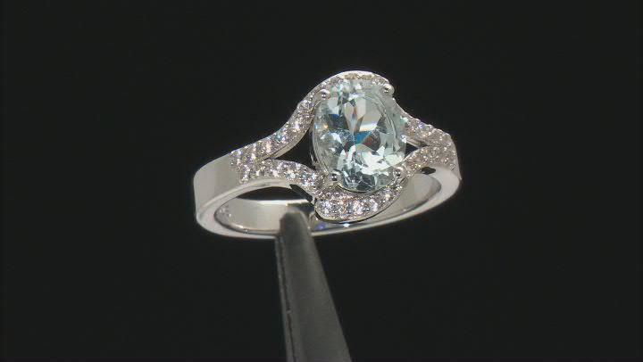 Blue Aquamarine Rhodium Over Sterling Silver Ring 1.63ctw