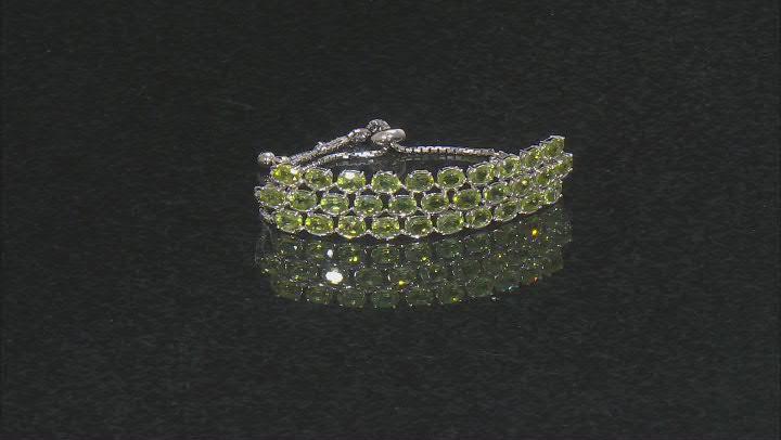 Green Peridot Rhodium Over Sterling Silver Bracelet 13.33ctw