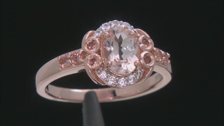 Pink Morganite 18k Rose Gold Over Silver Ring 1.34ctw