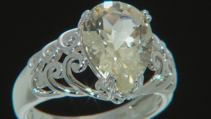 Yellow Labradorite Rhodium Over Sterling Silver Ring 3.94ct