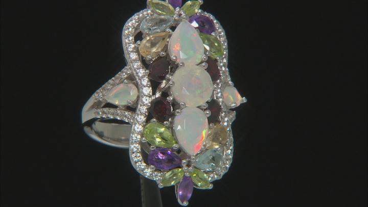 Multi-Color Ethiopian Opal Rhodium Over Silver Ring 4.56ctw
