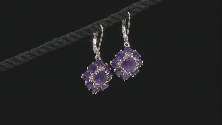 Purple amethyst rhodium over sterling silver earrings 4.82ctw