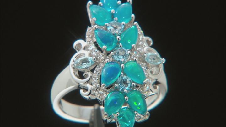 Paraiba Blue Color Opal, Swiss Blue Topaz & White Zircon Rhodium Over Silver Ring 1.79ctw