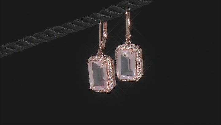 Pink Rose Quartz 18k Rose Gold Over Sterling Silver Earrings 7.31ctw