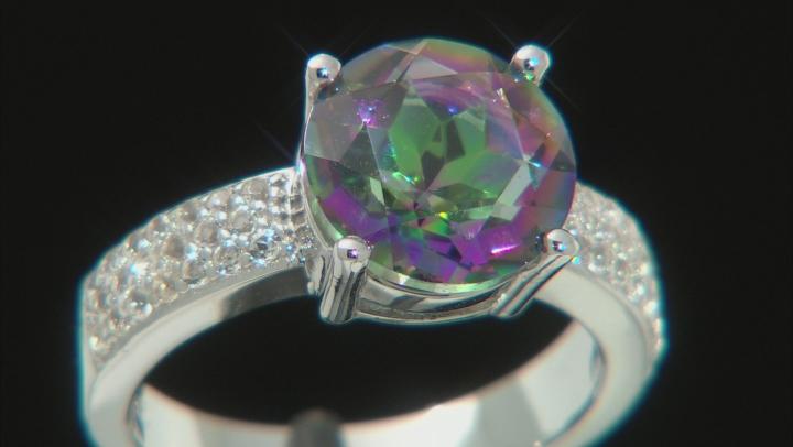 Multi-color Quartz Rhodium Over Sterling Silver Ring 3.37ctw