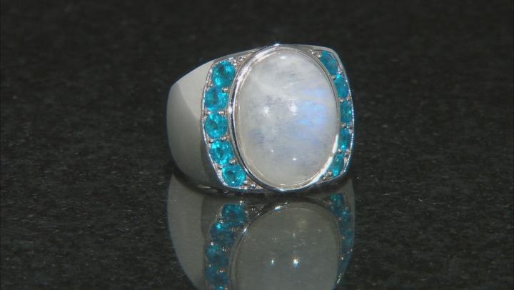 White Rainbow Moonstone Rhodium Over Silver Ring 1.02ctw