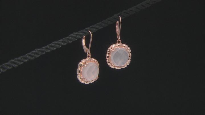 Pink Rose Quartz 18k Rose Gold Over Sterling Silver Earrings.