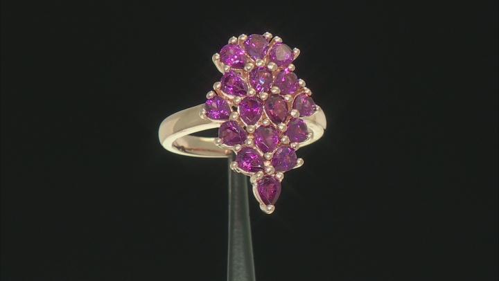 Raspberry Color Rhodolite 18k Rose Gold Over Silver Ring 2.40ctw
