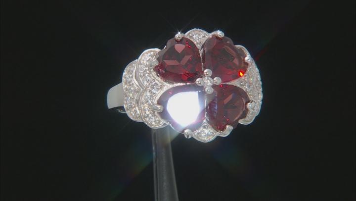 Red Garnet Rhodium Over Silver Ring 4.90ctw