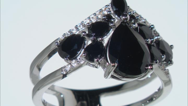 Black Spinel Rhodium Over Sterling Silver Chevon Ring 3.06ctw