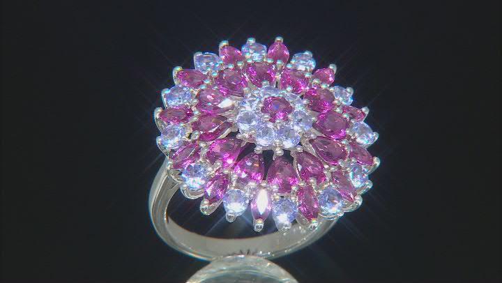 Purple Rhodolite Rhodium Over Sterling Silver Ring 4.40ctw
