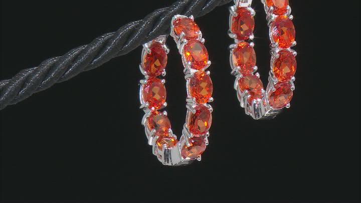 Orange sapphire rhodium over sterling silver inside-out hoop earrings 16.83ctw