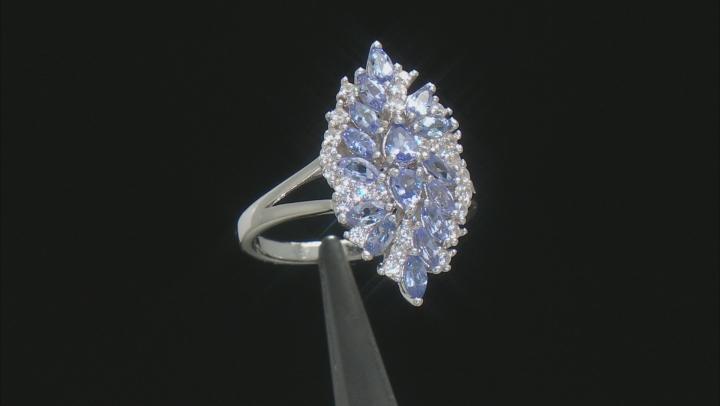 Blue Tanzanite Rhodium Over Silver Ring 1.69ctw