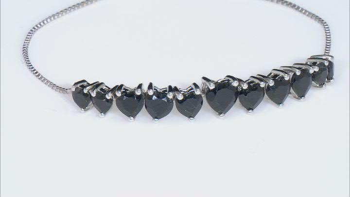 Black Spinel Rhodium Over Sterling Silver Adjustable Bolo Bracelet 4.63ctw