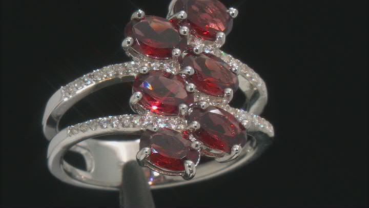 Red Garnet Rhodium Over Sterling Silver Ring 3.39ctw
