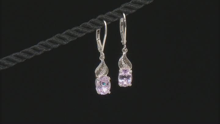 Pink Kunzite Rhodium Over Sterling Silver Dangle Earrings 3.00ctw