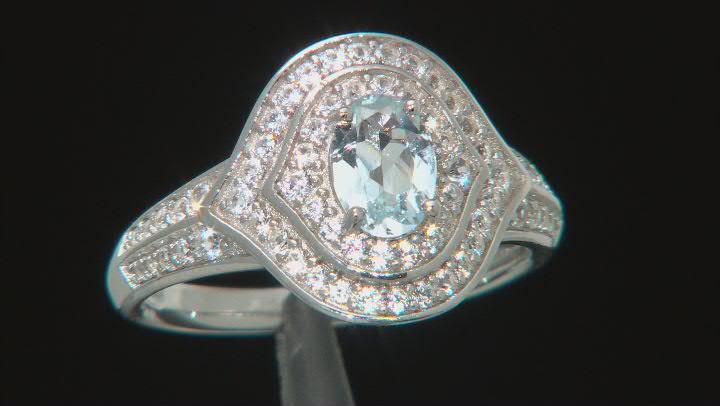 Blue Aquamarine Rhodium Over Sterling Silver Ring 1.27ctw