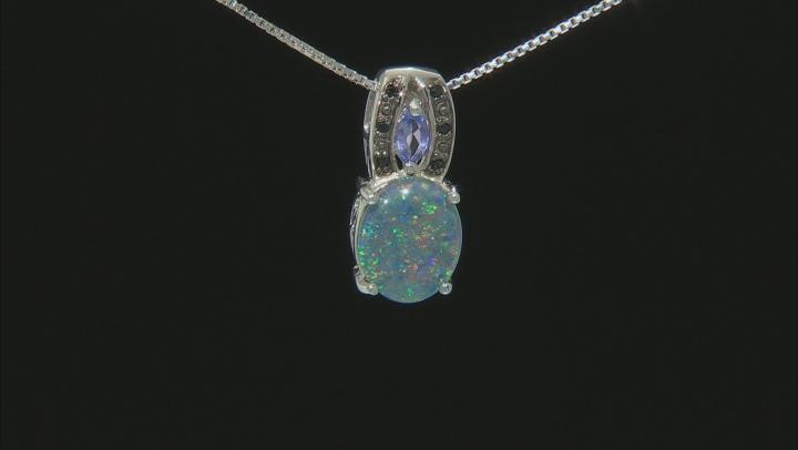 Blue Australian Opal Triplet Sterling Silver Pendant With Chain .15ctw