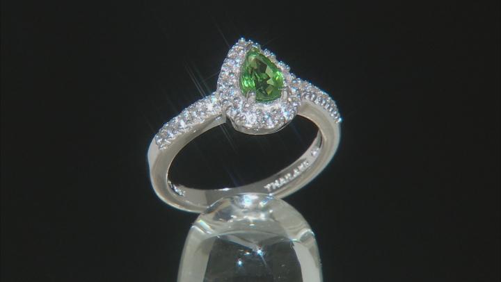 Mint Green Tsavorite Sterling Silver Ring .90ctw