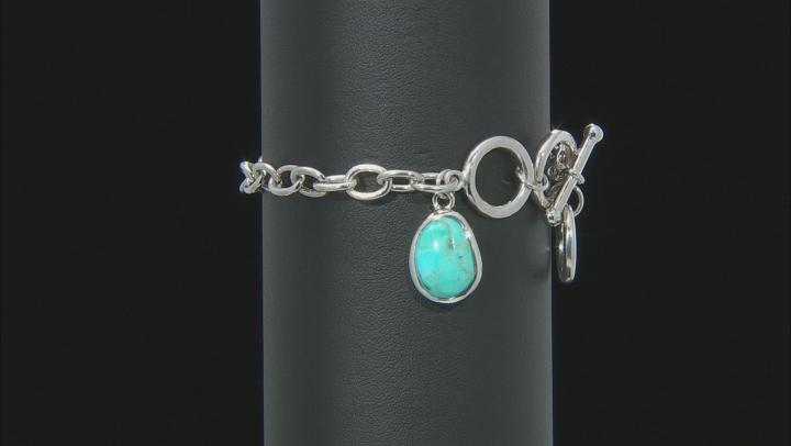 Blue Turquoise Charm Sterling Silver Bracelet