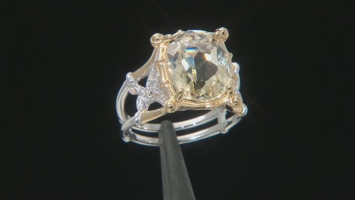 Yellow Labradorite Two-Tone Sterling Silver Ring 5.32ctw