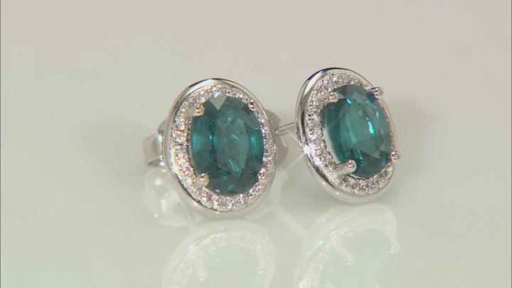 Teal Chromium Kyanite Sterling Silver Stud Earrings 3.00ctw