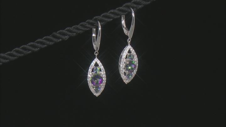 Multicolor Topaz Sterling Silver Dangle Earrings 2.90ctw