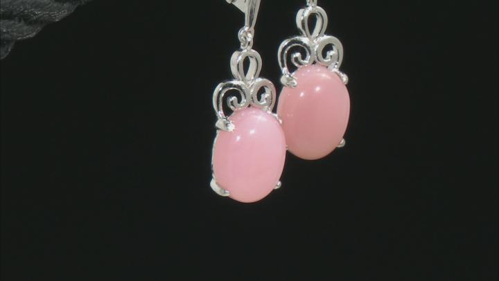 Pink Peruvian Opal Rhodium Over Sterling Silver Dangle Earrings