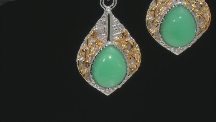 Green Chrysoprase Two-Tone Sterling Silver Dangle Earrings
