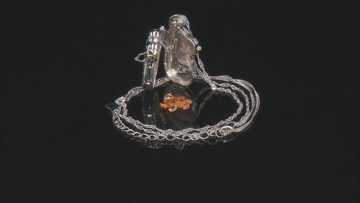 Orange Mandarin Garnet Rhodium Over Sterling Silver Prayer Box Pendant With Chain 1.70ctw