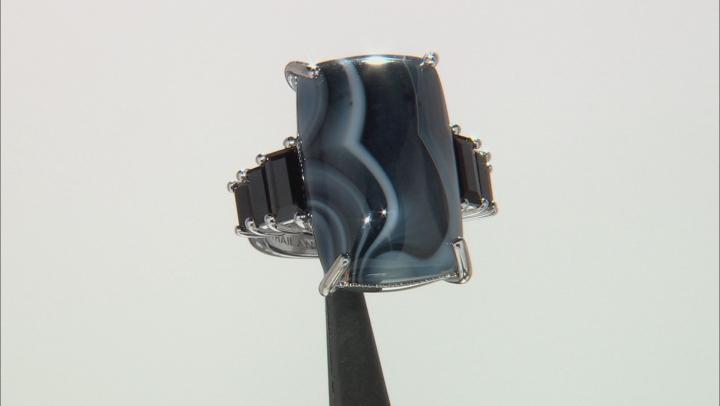 Multicolor Bela Pedra Tuxedo Agate Sterling Silver Ring 2.20ctw