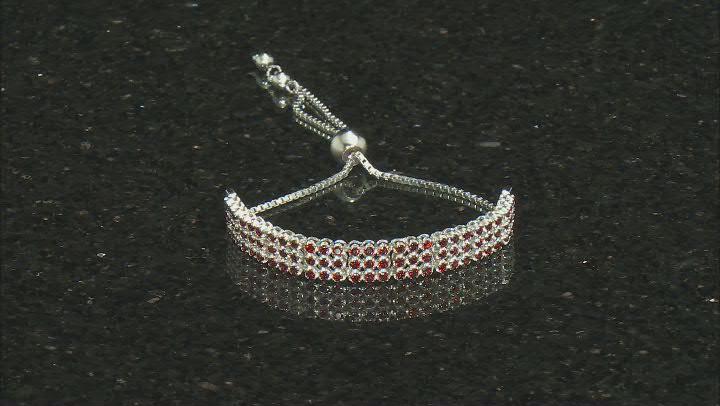 Red Garnet Sterling Silver Sliding Adjustable Bracelet 3.44ctw