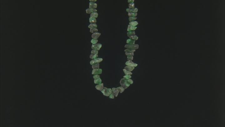 "Brazilian Emerald in Matrix Medium Nugget Bead Strand Appx 24"" Length"
