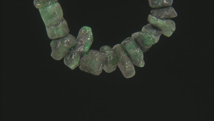 "Brazilian Emerald in Matrix Large Nugget Bead Strand Appx 24"" Length"