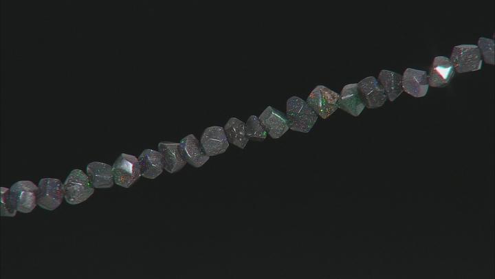 "Black Honduran Opal appx 6-7mm Fancy Faceted Nugget Shape appx 34-36"" Bead Strand appx. 180 ctw"