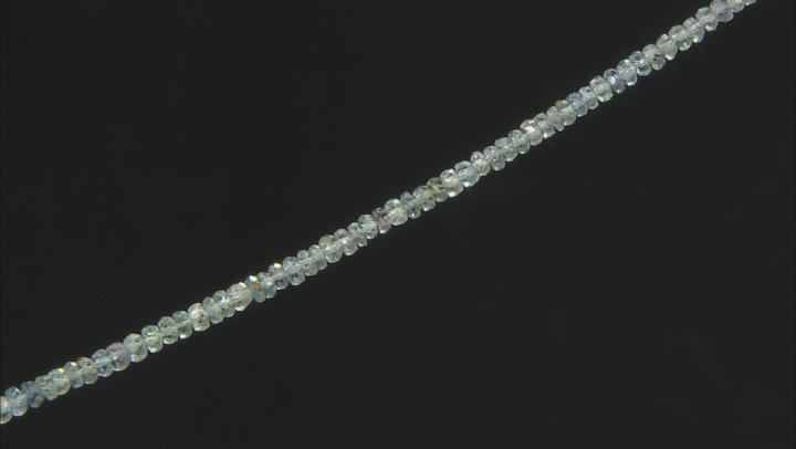 "Australian Green Sapphire Rondelle Bead Strand Appx 15-16"" in length"