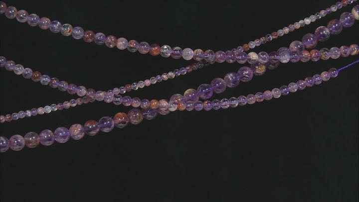 Lodalite Amethyst Appx 4, 6, 8, & 10mm Round Bead Strand Set of 4