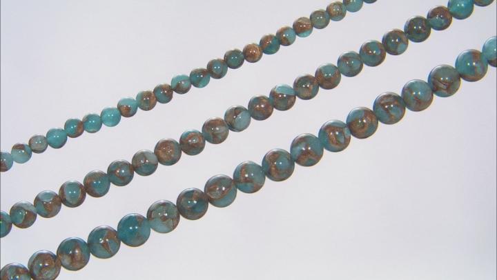 Sky Blue Mosaic Quartz Appx 6, 8, & 10mm Round Bead Strand Set of 3