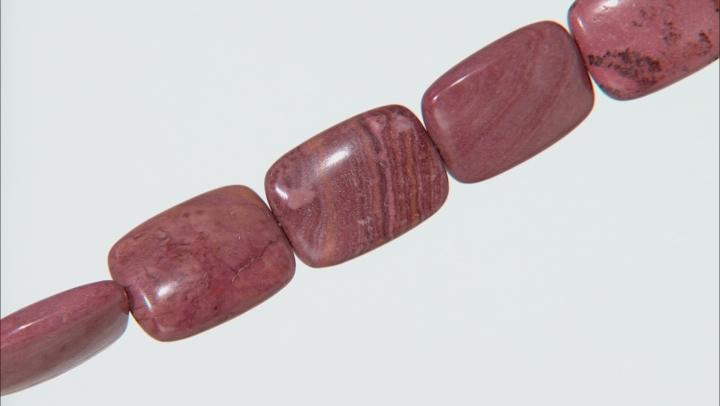 "Brazilian Rhodochrosite Appx 18x13mm Rectangular Bead Strand Appx 15-16"""
