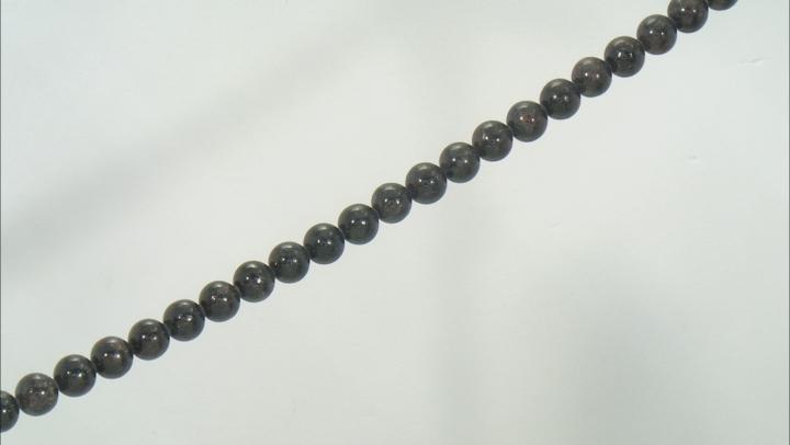 "Astrophyllite in Matrix appx 10mm Round Bead Strand appx 15-16"""