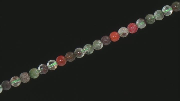 "Rainbow Lodalite Quartz Appx 6mm Round Bead Strand Appx 15-16"""